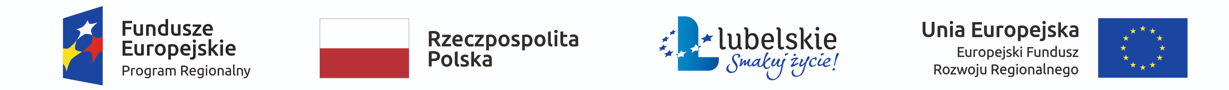 Obrazek przedstawia oznakowania dla projektu: Fundusze Europejskie (program regionalny), flagę Rzeczpospolitej Polskiej, logo województwa lubelskiego wraz z hasłem - Smakuj życie! - oraz flagę Unii Europejskiej.
