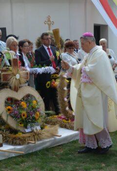 Na obrazku ksiądz święci plony wodą święconą