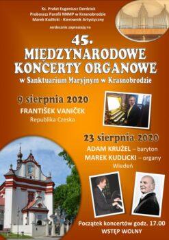 Plakat przedstawiający międzynarodowe koncerty organowe