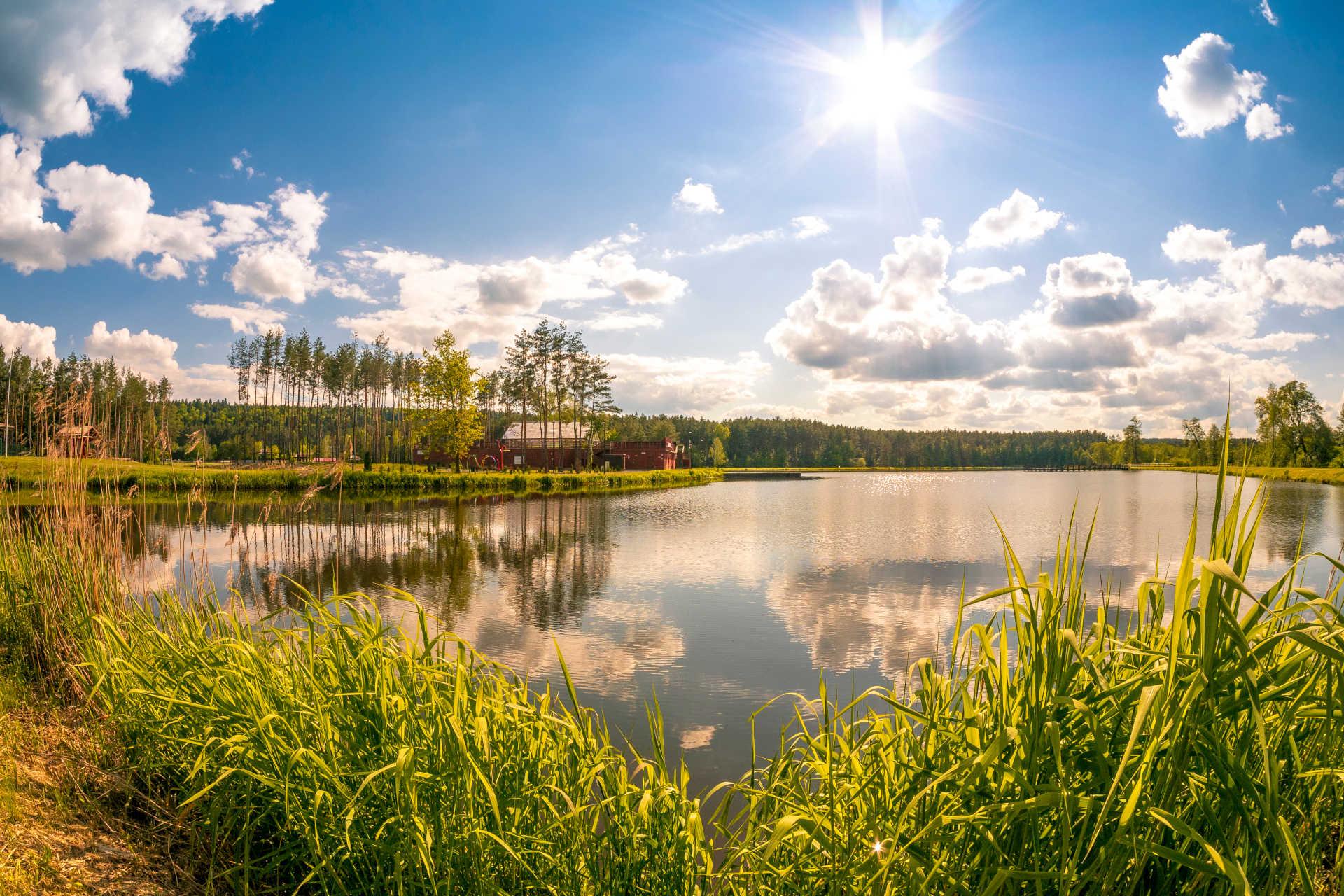 Obrazek przedstawia zdjęcie zalewu w gminie Krasnobród.